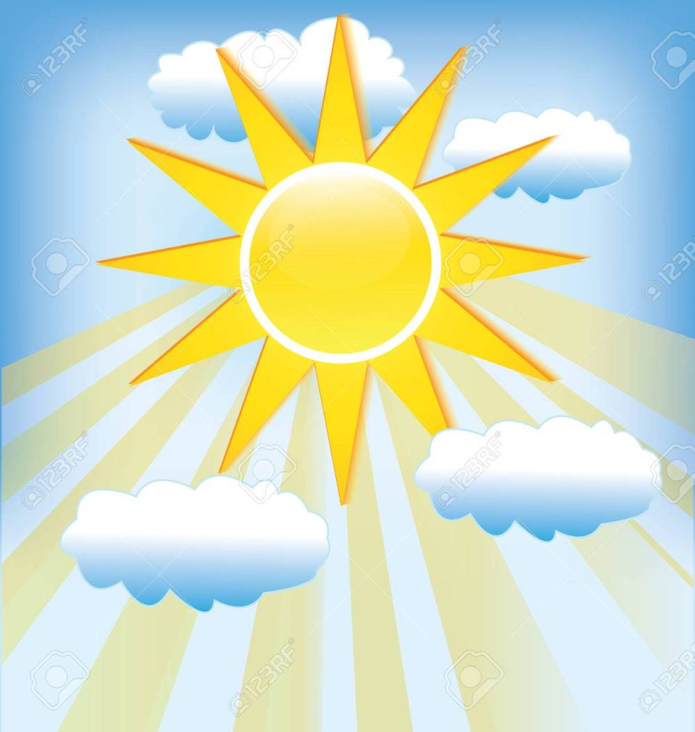 medium resolution of sun rays cloudy blue sky background template stock vector 74478973