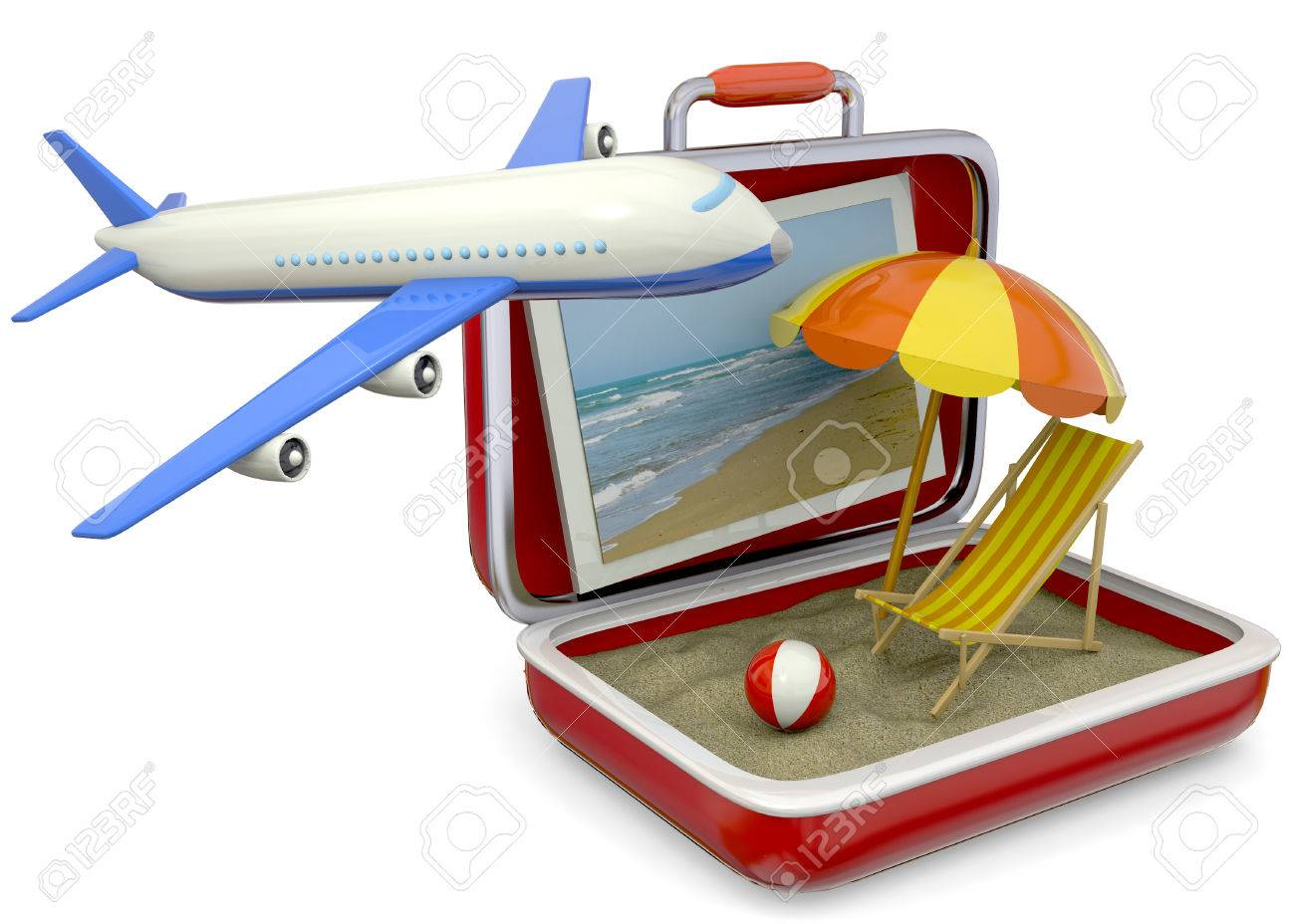 air travel beach chairs philippe starck broom chair umbrella life buoy suitcase airplane and sand stock photo
