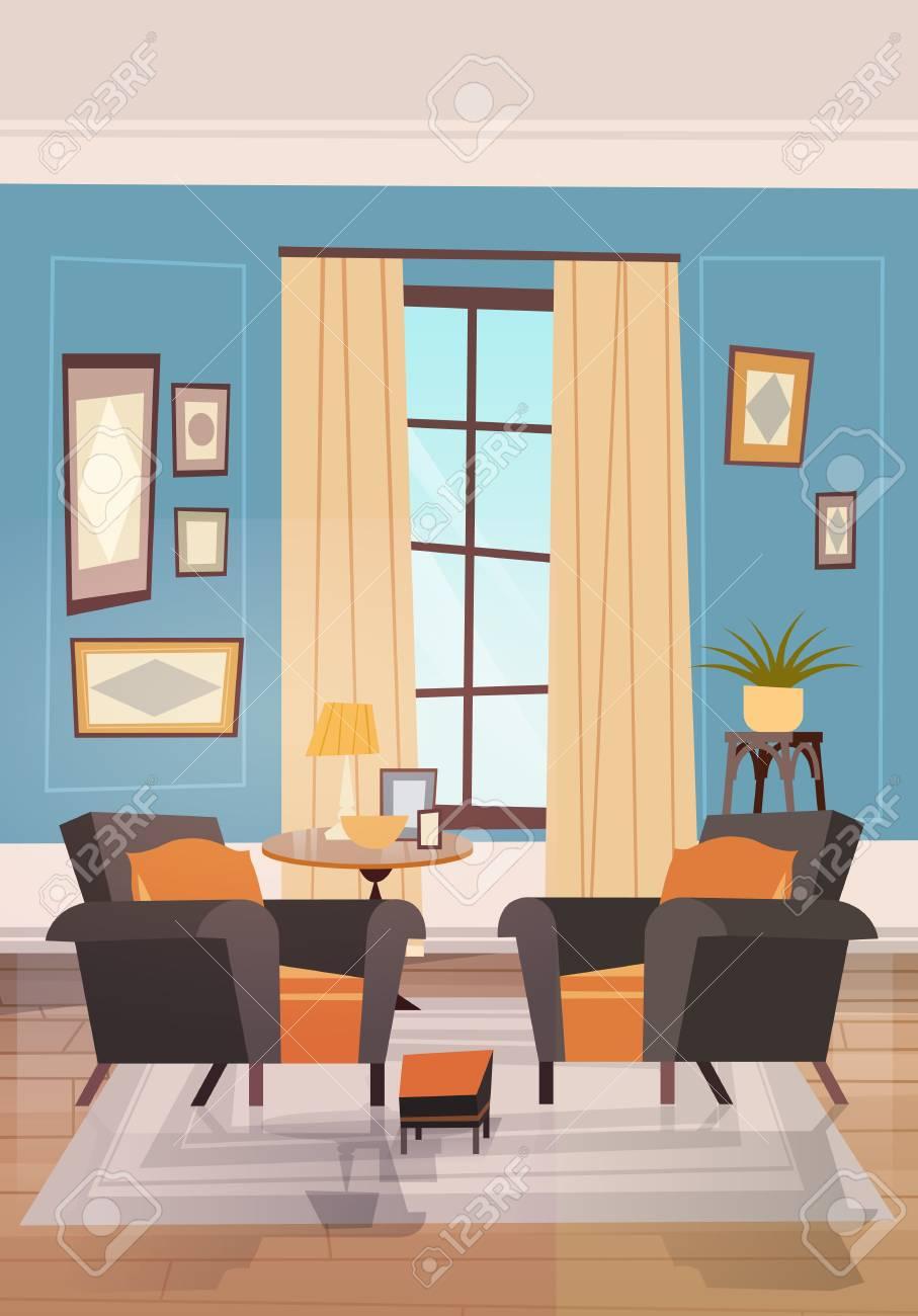 design d interieur de salle de sejour confortable avec des meubles modernes fauteuils pres de petit tabel et fenetre illustration vectorielle plane