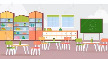 Preschool Modern Kindergarten Children Classroom With Chalkboard Royalty Free Cliparts Vectors And Stock Illustration Image 117707509