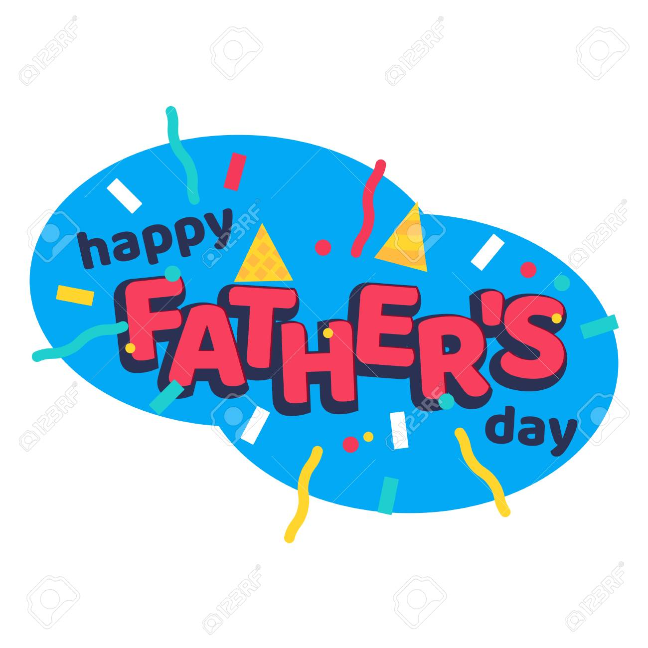 hight resolution of happy fathers day cartoon sticker with serpantine ribbons stock vector 90337076