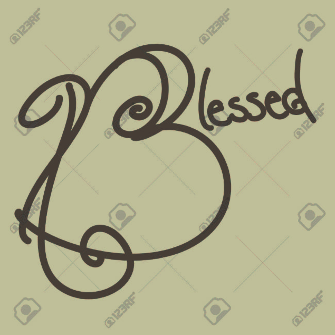 Vector - Blessed Hand Drawn Typography, Brown 68719210