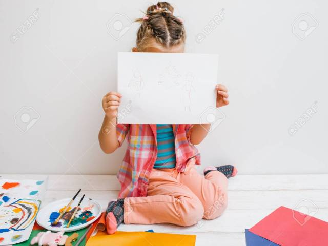 Uncertain Artist. Shy Baby Girl. Unconfident Kid Paint Work ...