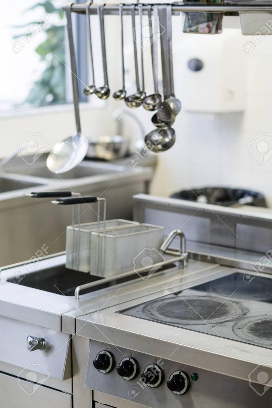 professional kitchen appliances rustic chandelier interior restaurant industry workspace modern cooking stock photo 94566329