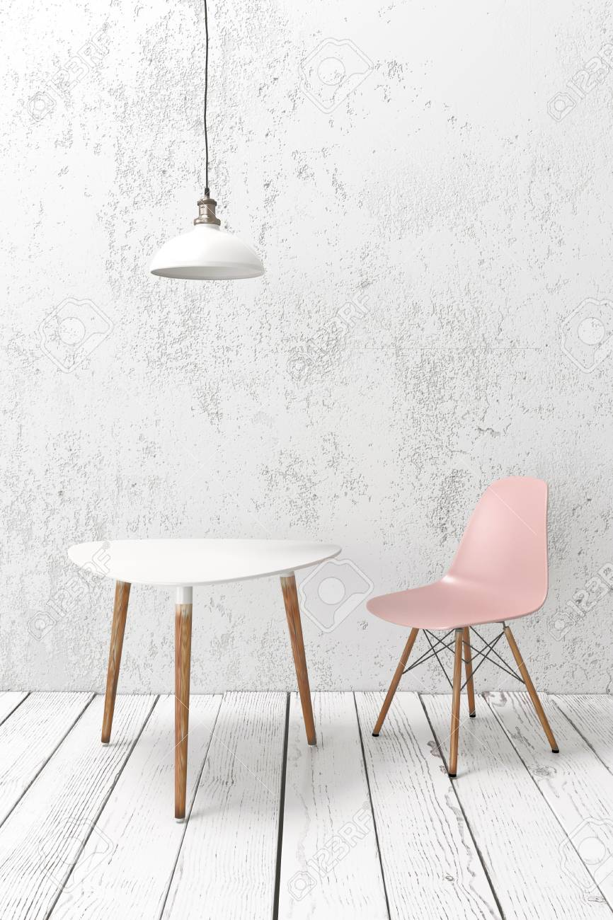 cafe chairs wooden plastic chair rail moulding modern furniture on plank floor against white wall pendant lamp above stock photo