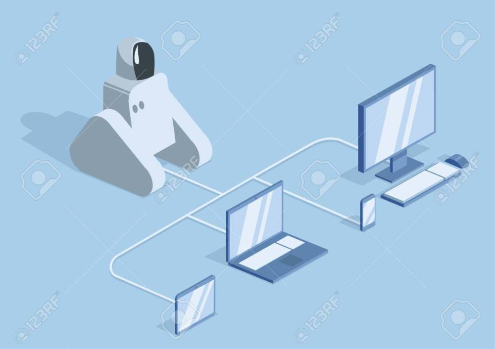 medium resolution of a robot connected by wires to a computer laptop and mobile gadgets stock vector