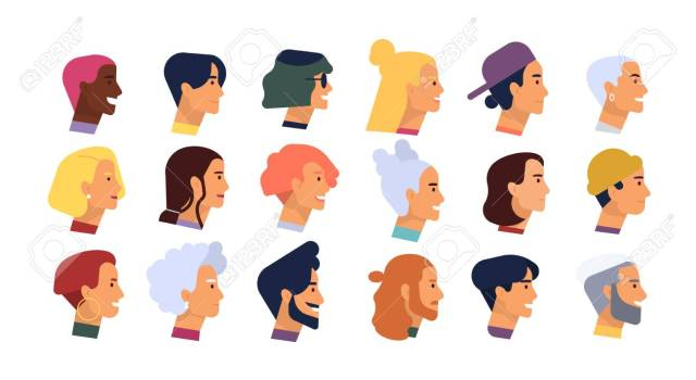 collection of profile portraits or heads of male and female cartoon..