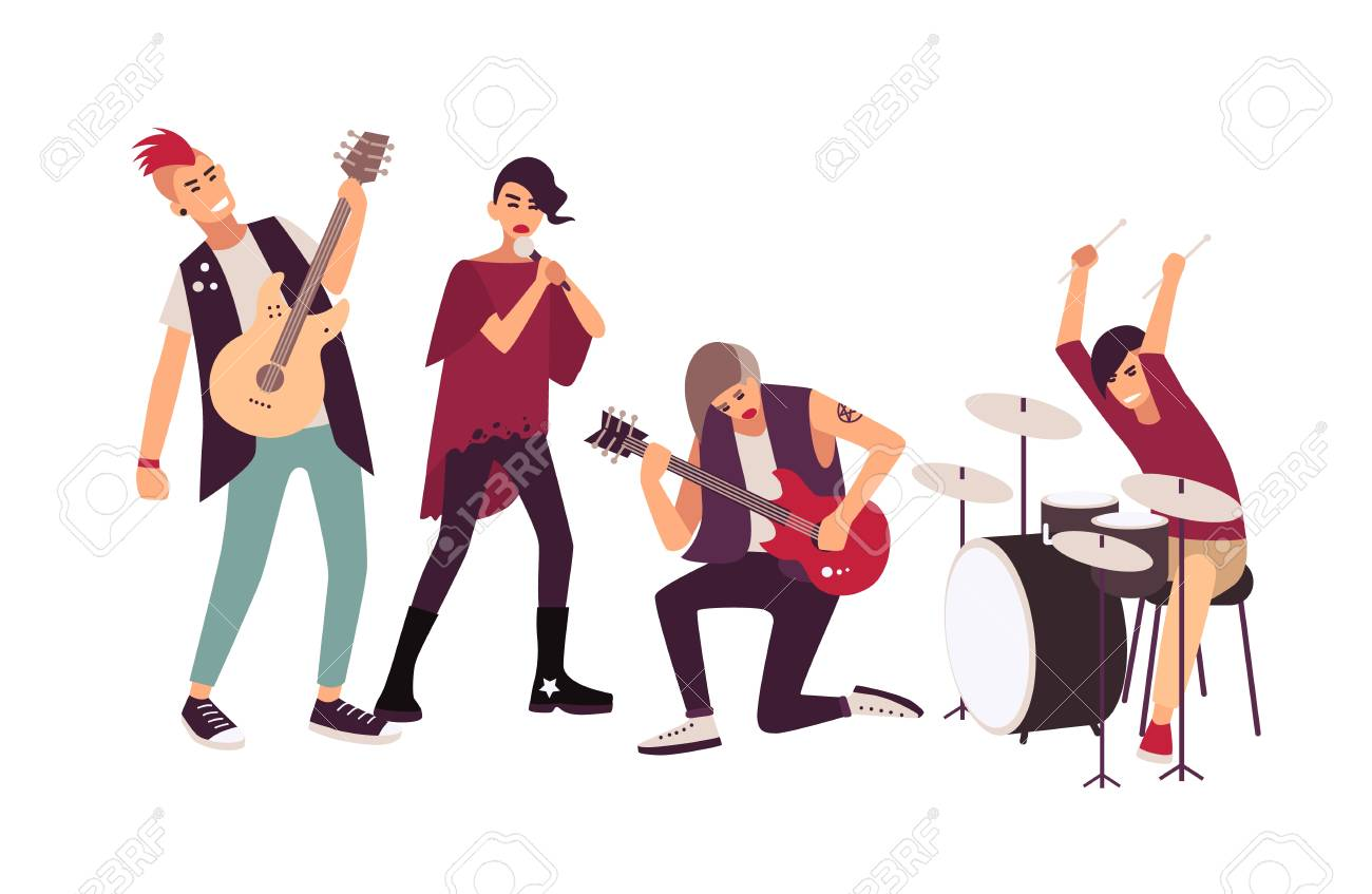 hight resolution of punk rock band performing on stage group of young teenage men and women with mohawks
