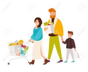 Happy Family Shopping In Supermarket Smiling Mother Father Royalty Free Cliparts Vectors And Stock Illustration Image 117296668