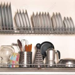 Kitchen Racks Farm Style Table For Plates And Utensils Stock Photo Picture 22694899