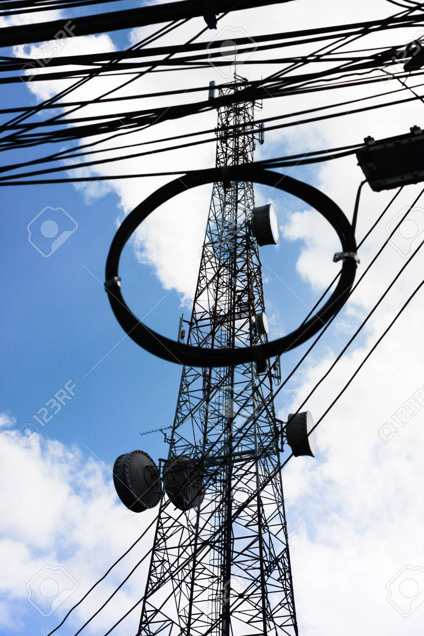 medium resolution of broadcast antenna and the wiring stand tall to the blue sky the equipment and cable