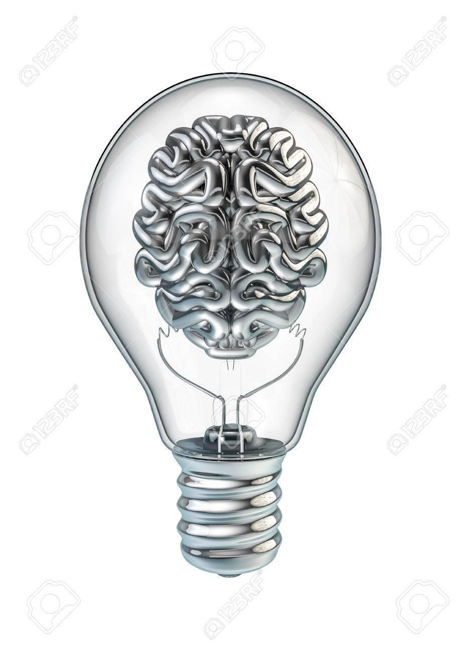 light bulb brain 3d