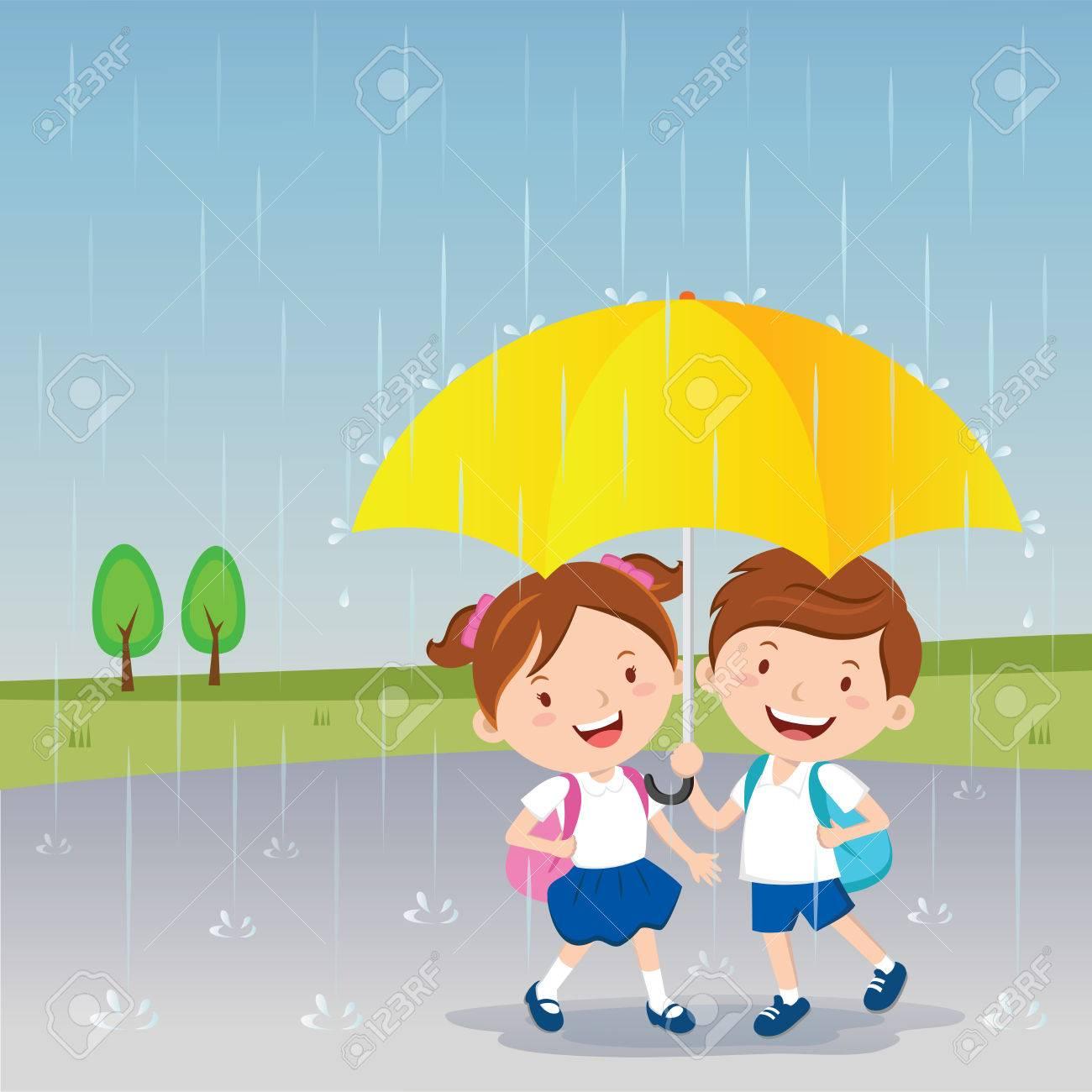children under the umbrella