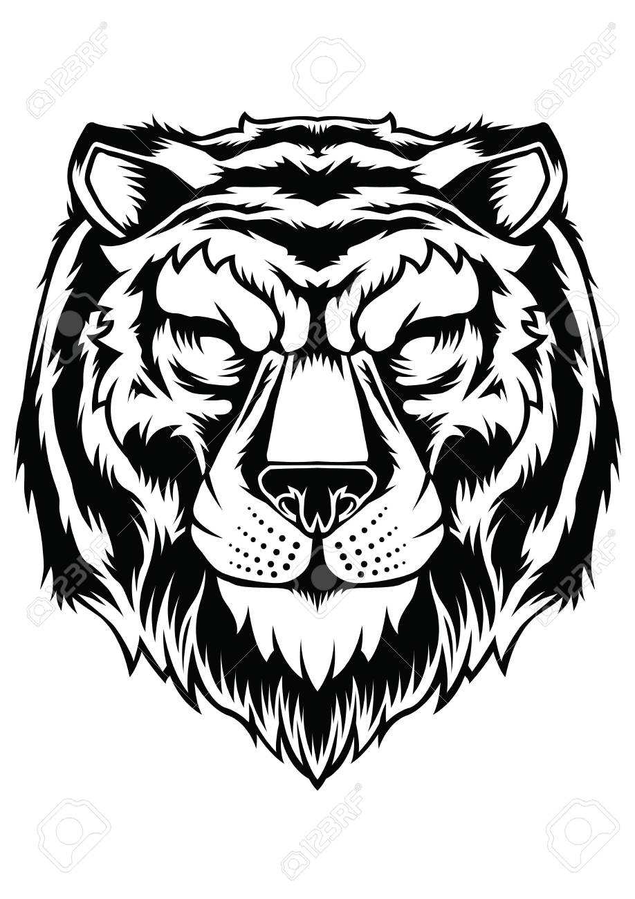 Animal Head Tattoo : animal, tattoo, Tiger, Tattoo, Design, Vector, Animal, Royalty, Cliparts,, Vectors,, Stock, Illustration., Image, 83933495.