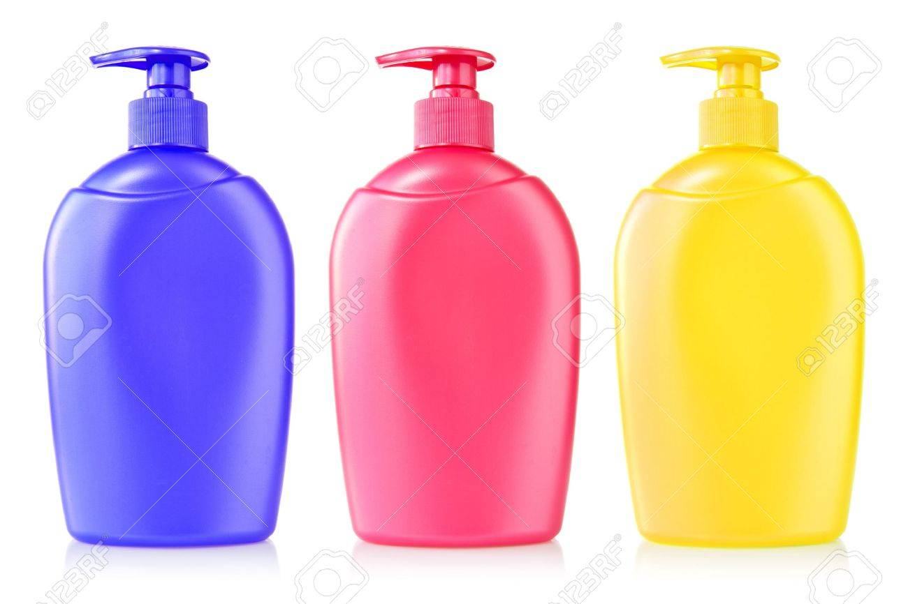 three color plastic bottles