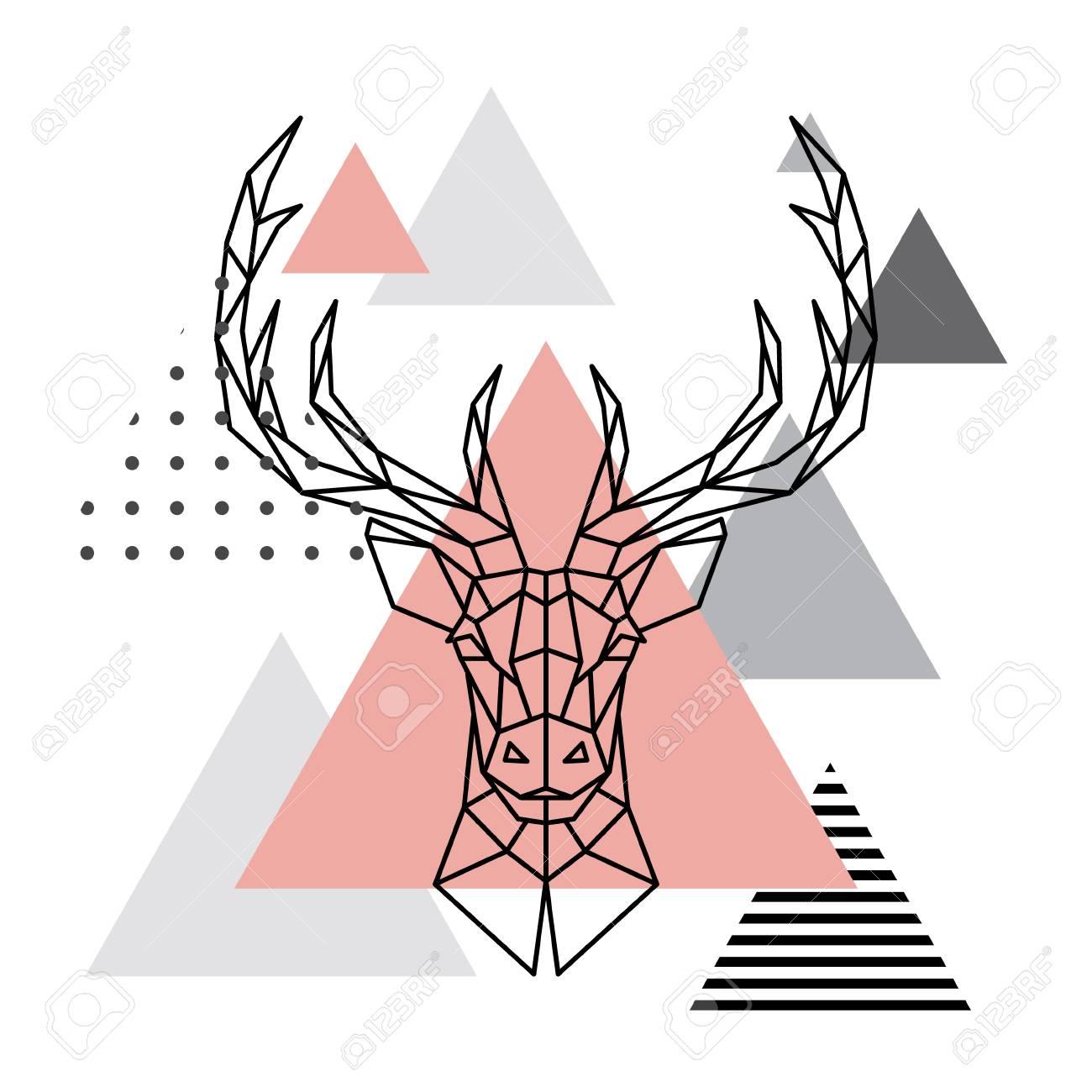 geometric head of a deer on a scandinavian background