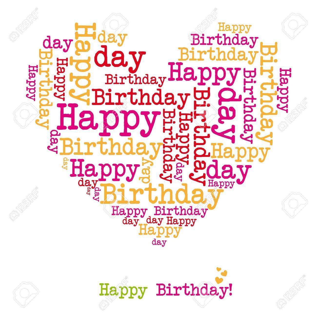 happy birthday heart isolated