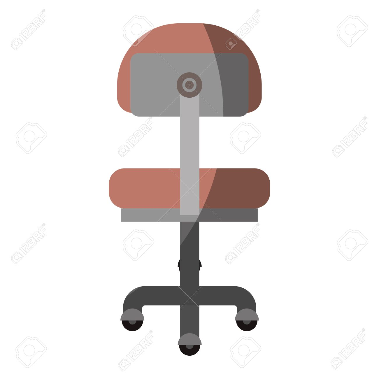 office chair illustration stacking chairs with arms colorful graphic of back view without contour and half shadow vector stock