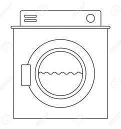 monochrome silhouette of washing machine with water medium level vector illustration stock vector 84473897 [ 1300 x 1300 Pixel ]