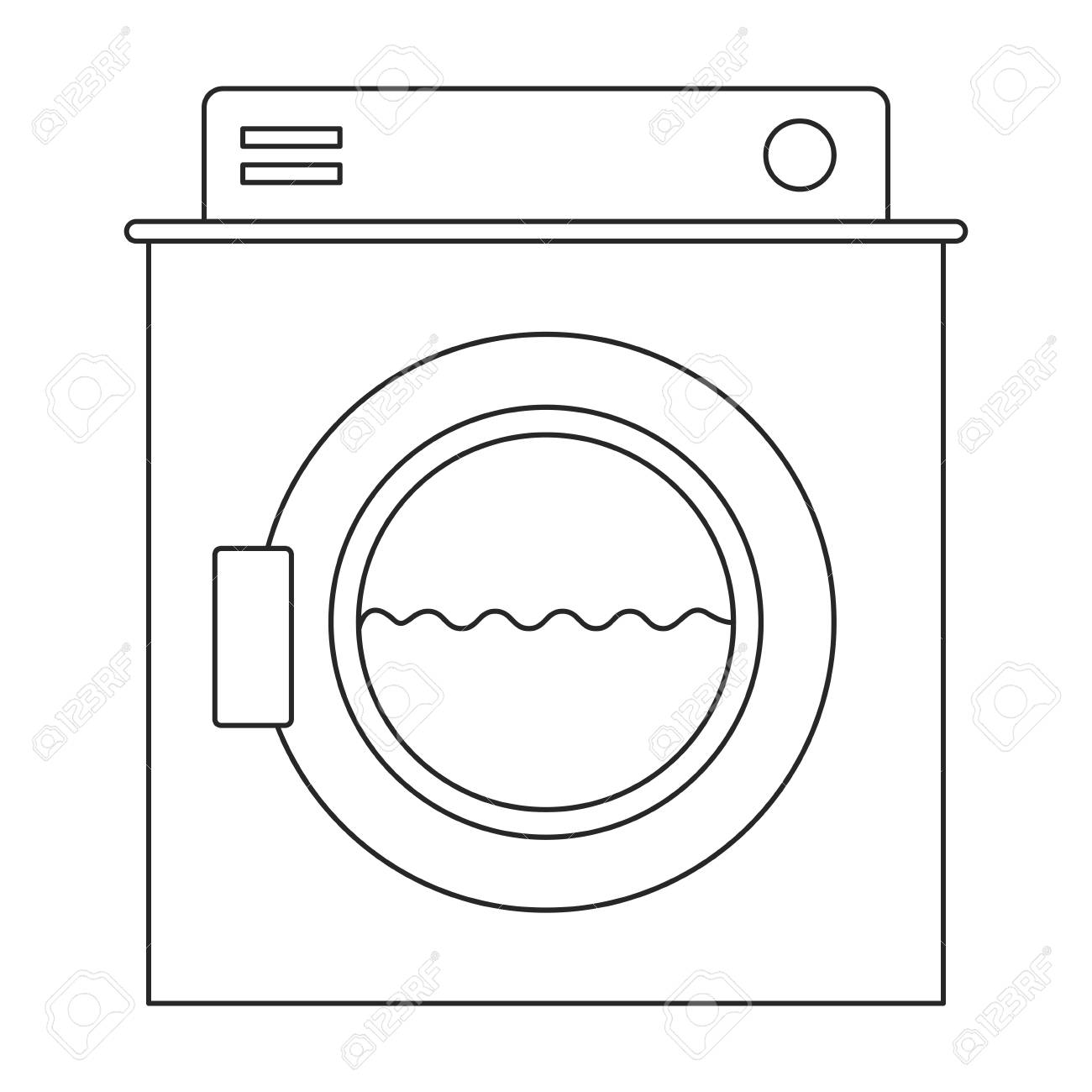 hight resolution of monochrome silhouette of washing machine with water medium level vector illustration stock vector 84473897