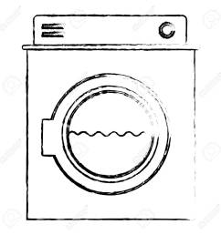 monochrome blurred silhouette of washing machine with water medium level vector illustration stock vector  [ 1300 x 1300 Pixel ]