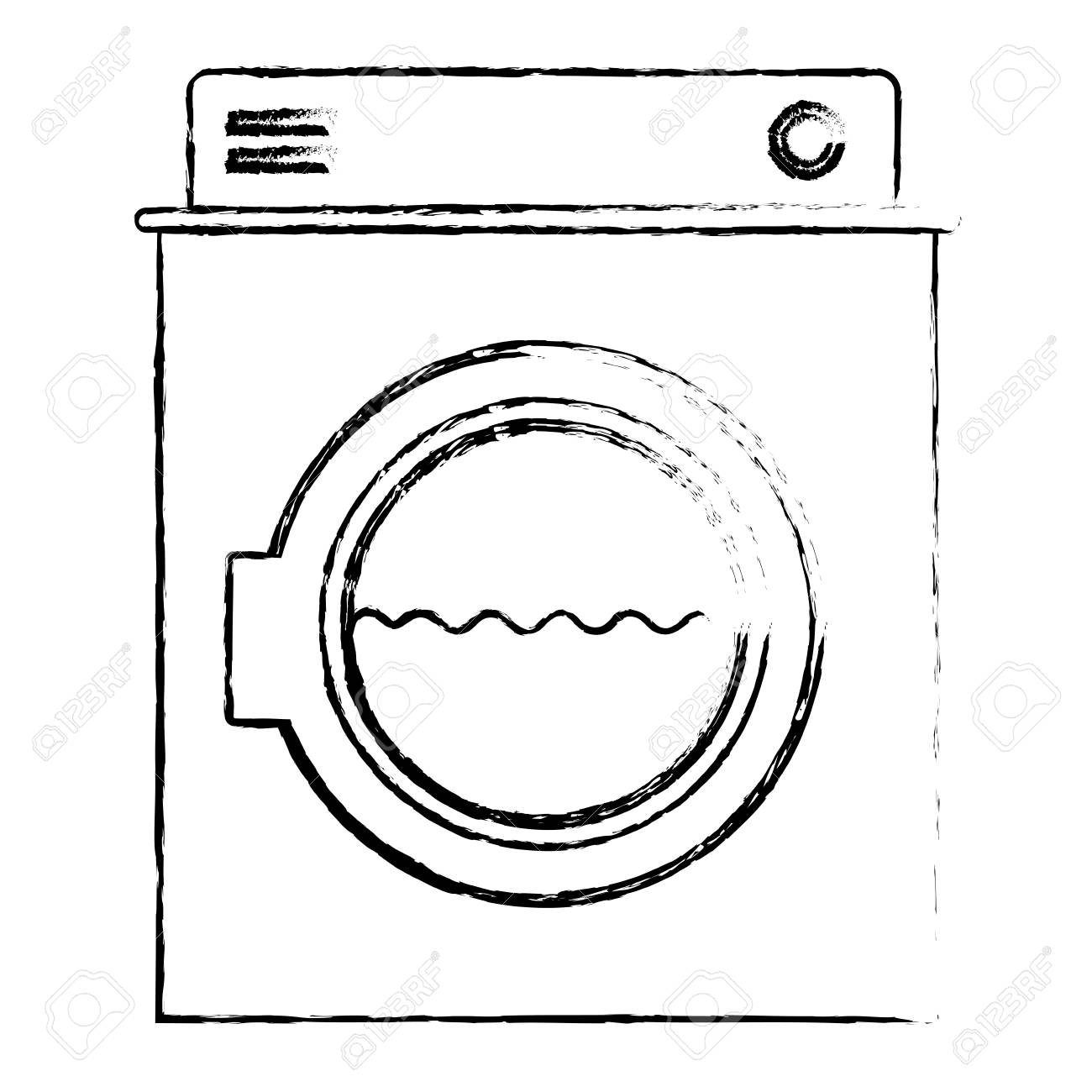 hight resolution of monochrome blurred silhouette of washing machine with water medium level vector illustration stock vector
