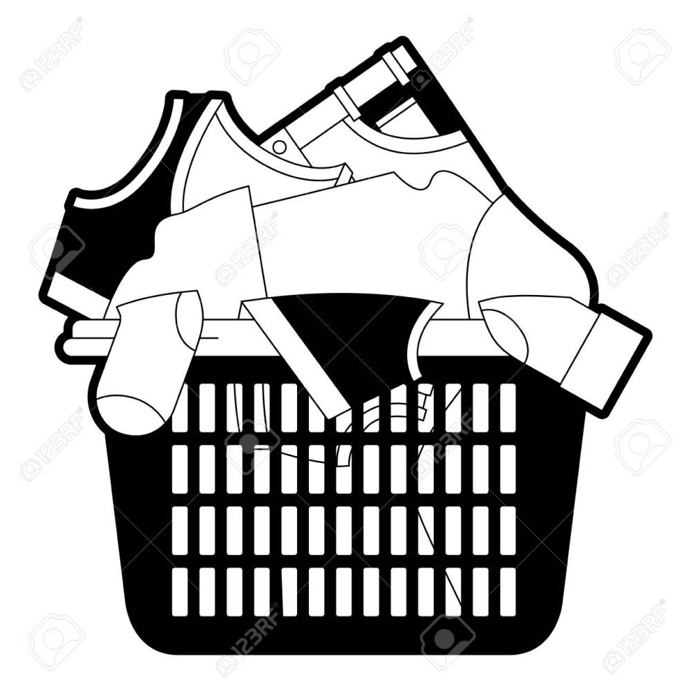 medium resolution of black sections silhouette of laundry basket with heap of clothes vector illustration stock vector jpg 1300x1300