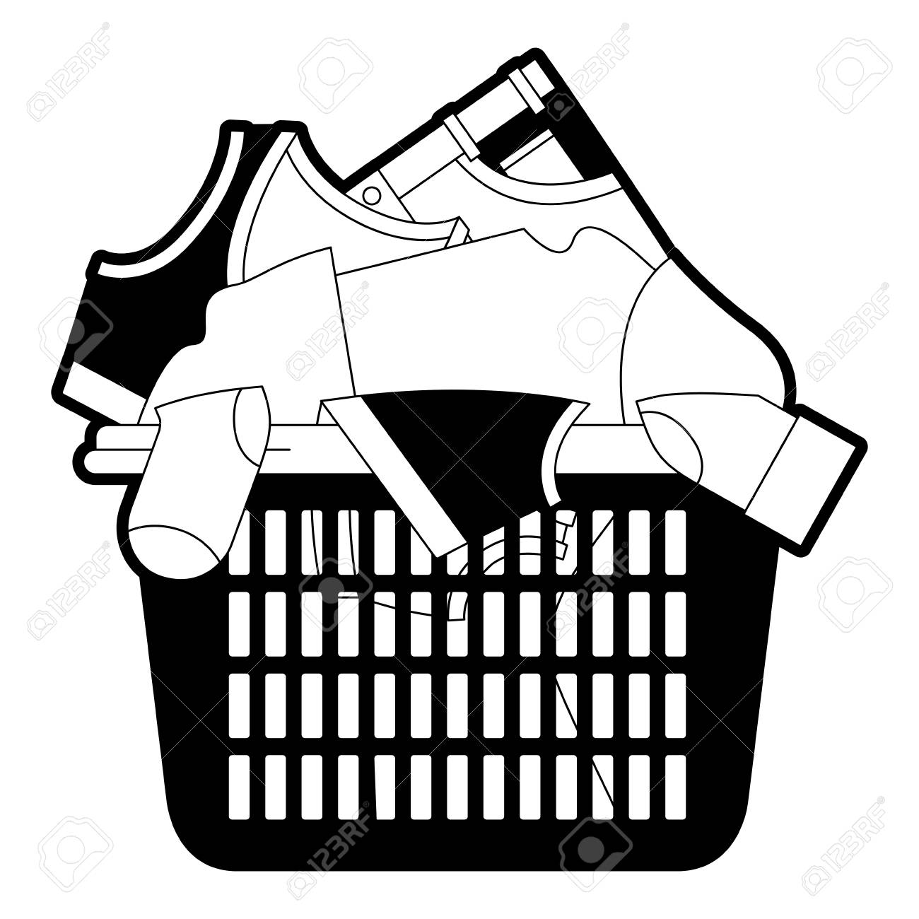 hight resolution of black sections silhouette of laundry basket with heap of clothes vector illustration stock vector jpg 1300x1300
