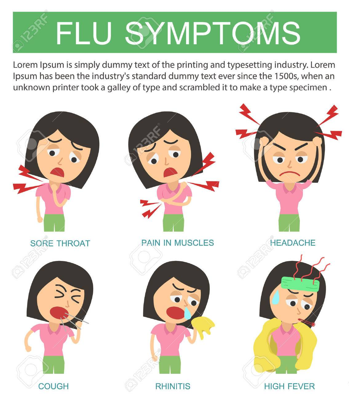 Flat Infographic. Flu Symptoms And Influenza On White Background ...