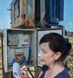 stock photo woman electrician engineer inspecting electric counter equipment in distribution fuse box electricity switchgear power transformer substation  [ 866 x 1300 Pixel ]