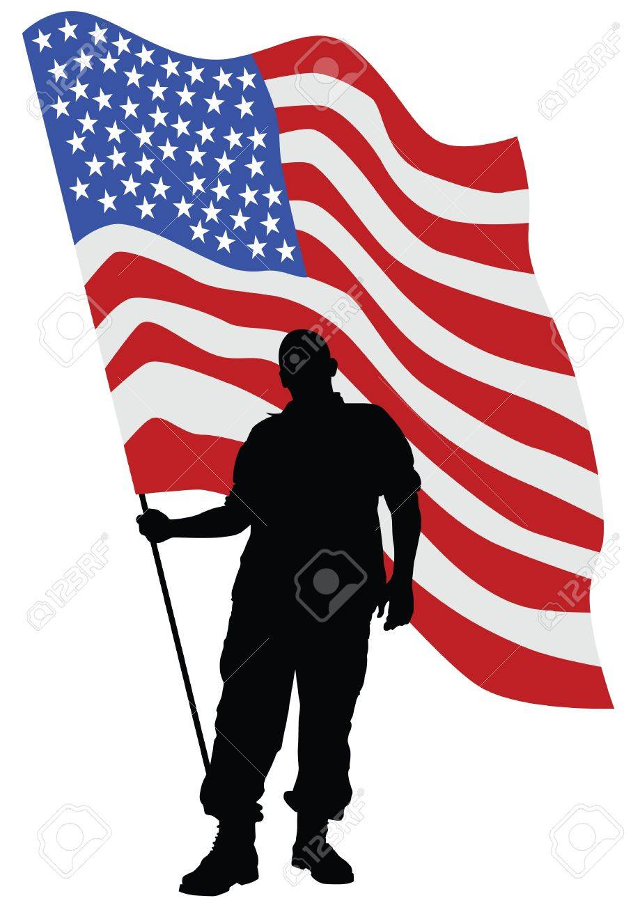 medium resolution of soldier in uniform with american flag stock vector 79429880