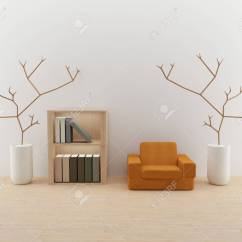 Single Sofa Design Small Brown Leather Bed Interior Living Room With Book Shelf Stock In 3d Render Image Photo
