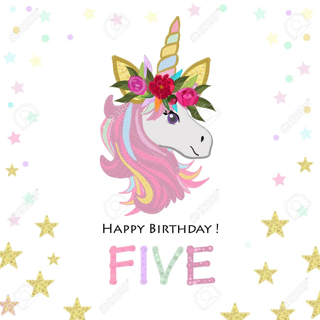 fifth birthday five unicorn birthday invitation party invitation