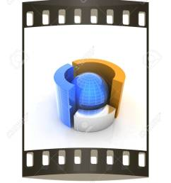 3d circular diagram and sphere on white background the film strip stock photo 39418823 [ 946 x 1300 Pixel ]
