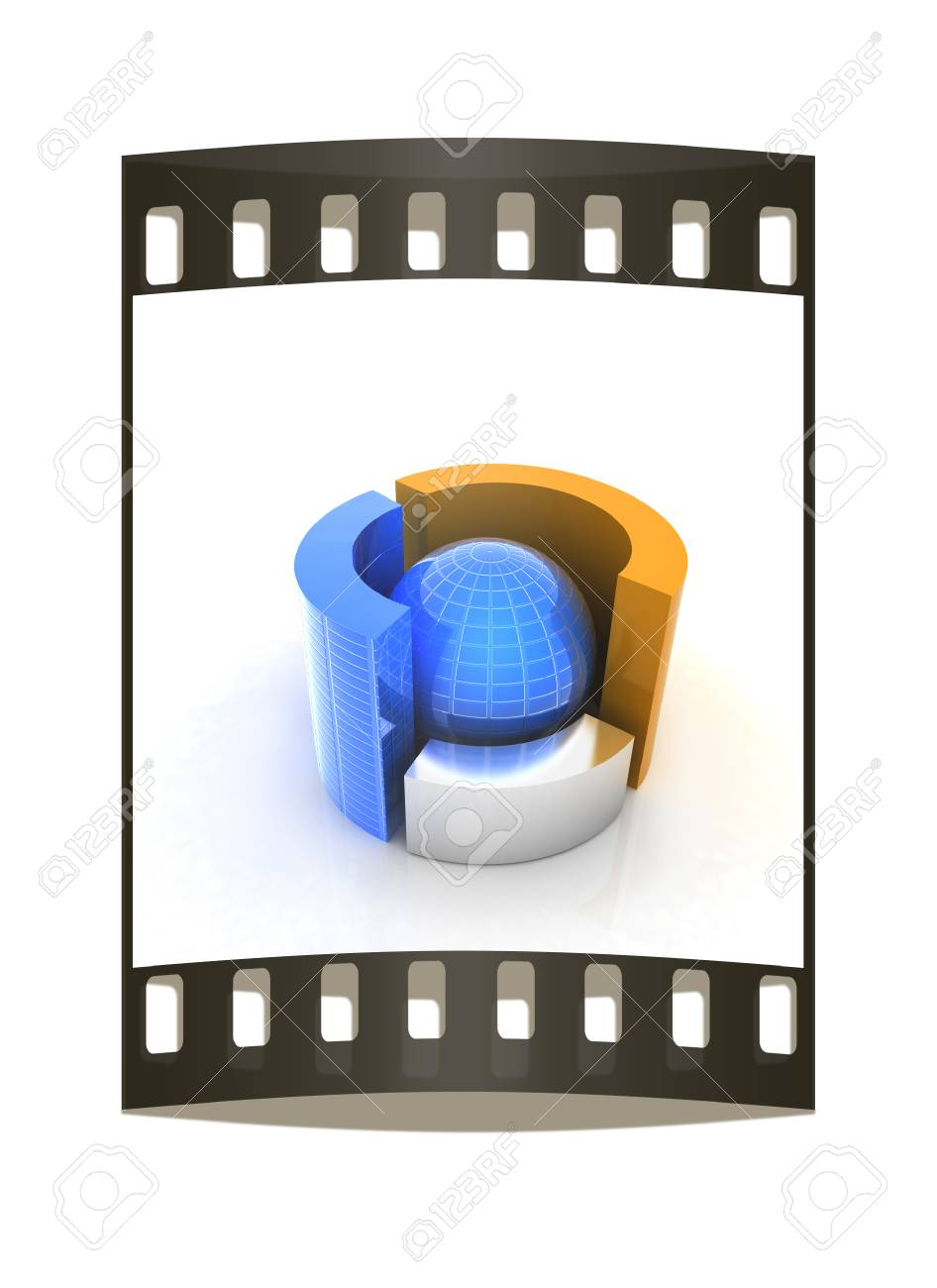 medium resolution of 3d circular diagram and sphere on white background the film strip stock photo 39418823