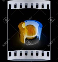 3d circular diagram and sphere on black background the film strip stock photo 44728278 [ 946 x 1300 Pixel ]