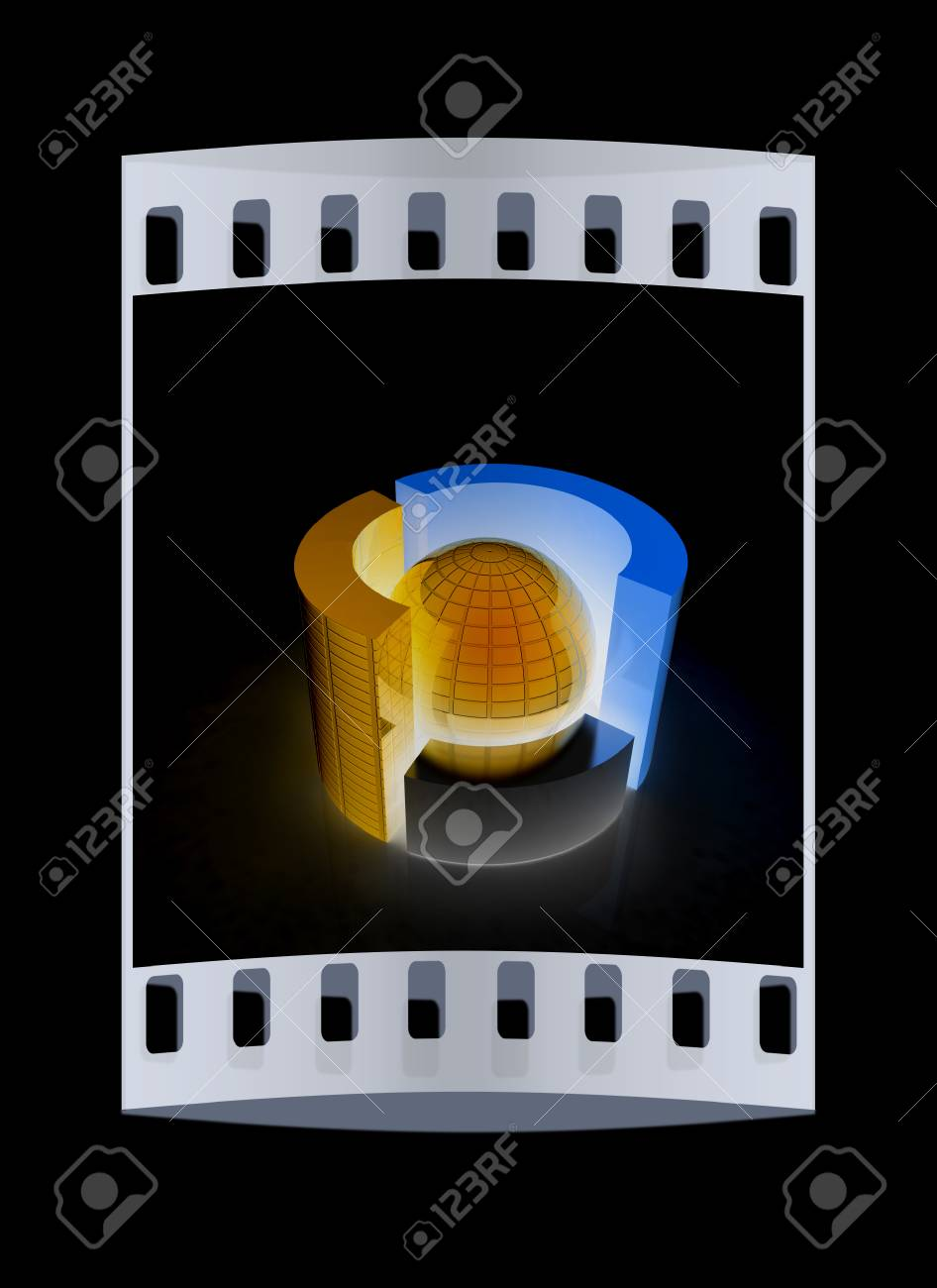 medium resolution of 3d circular diagram and sphere on black background the film strip stock photo 44728278