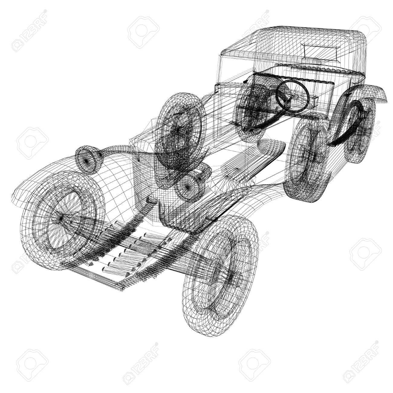 hight resolution of 3d model retro car stock photo 45815759