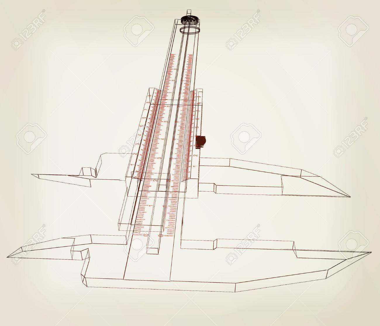 hight resolution of vernier caliper 3d illustration vintage style stock illustration 60854050