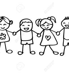little kids holding hands stock vector 85869253 [ 1300 x 924 Pixel ]