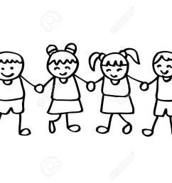 little kids holding hands stock vector 85903998 [ 1300 x 923 Pixel ]