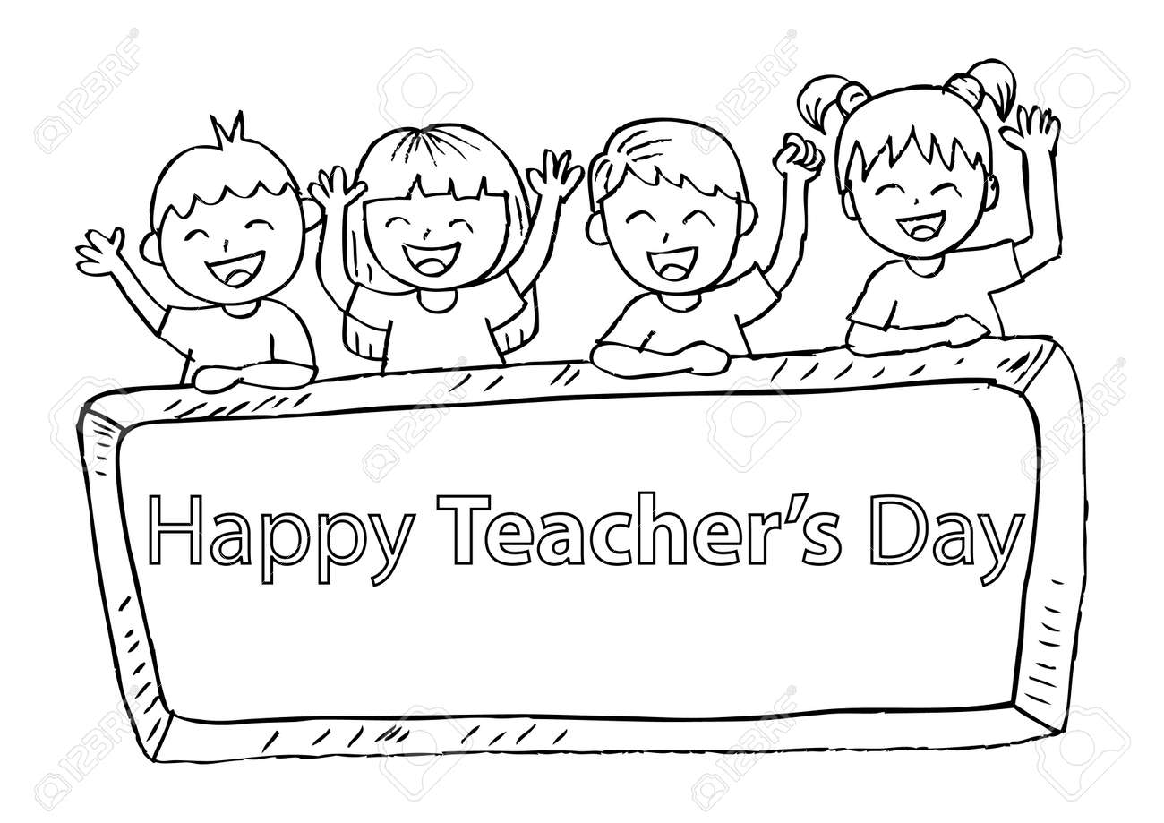 hight resolution of  clipart source cute kids holding a chalkboard with happy teacher s day writing