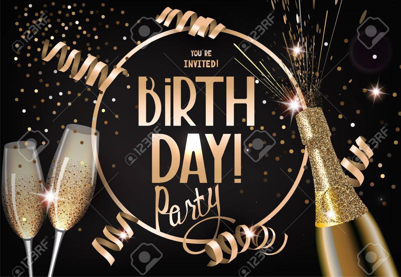 carte d invitation fete d anniversaire avec des lunettes et une bouteille de champagne et de serpentine illustration vectorielle