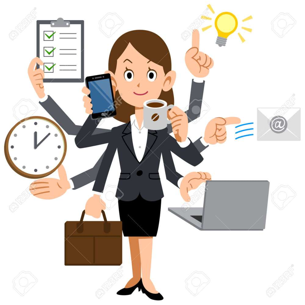 medium resolution of businesswoman to do a multi tasking