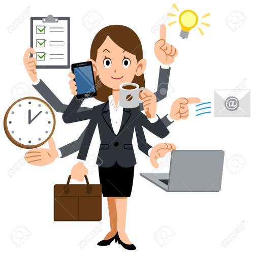 small resolution of businesswoman to do a multi tasking