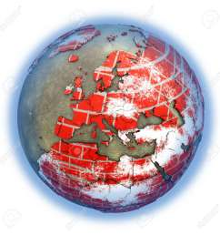 europe on brick wall model of planet earth with continents made of red bricks and oceans [ 1300 x 1300 Pixel ]