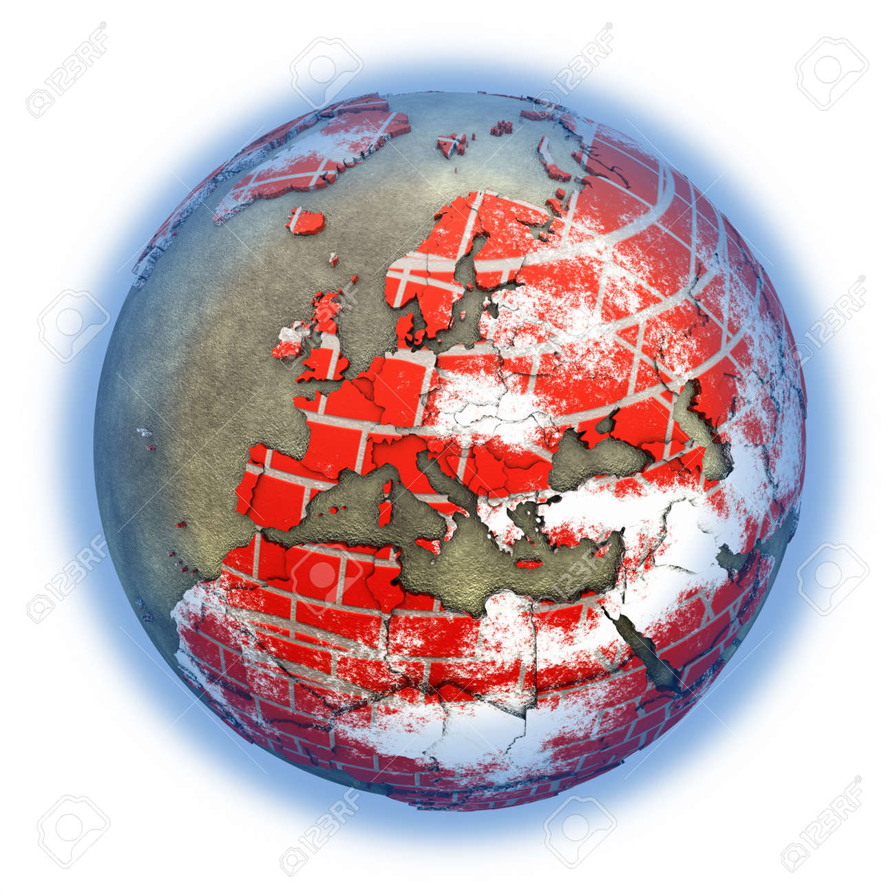 hight resolution of europe on brick wall model of planet earth with continents made of red bricks and oceans