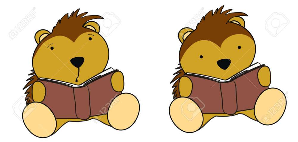 medium resolution of porcupine baby cartoon reading set stock vector 22163585