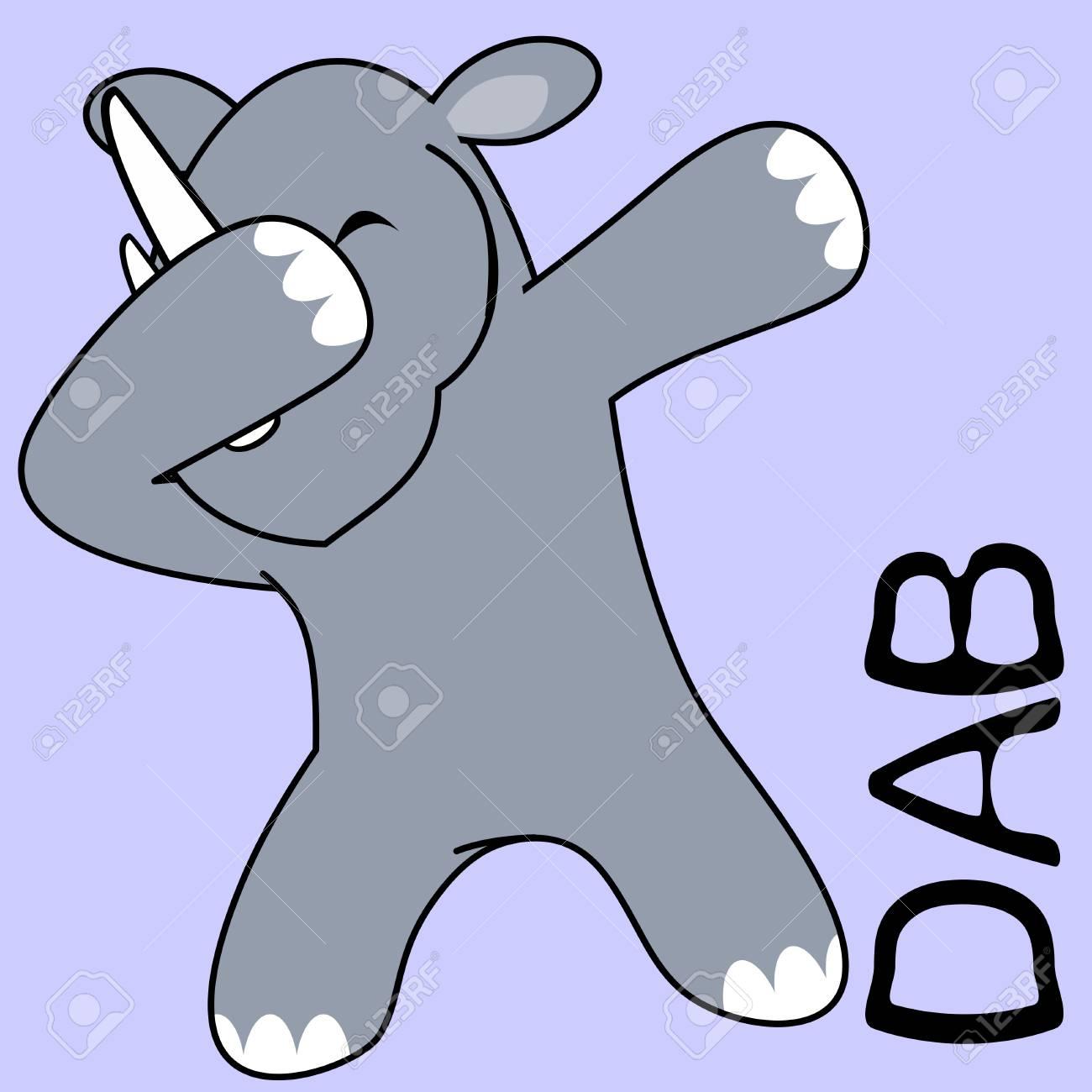dab dabbing pose rhino