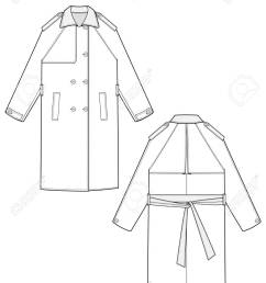 trench coat fashion flat technical drawing template stock vector 114372926 [ 918 x 1300 Pixel ]